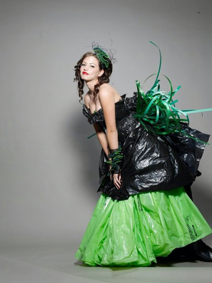 Luis Valenzuela EcoArtFashion creation Gwon made of recycled plastic bags for Miami Art Museum Earth Day 2009