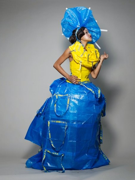 EcoArtFashion creation by Luis Valenzuela made of IKEA bags for Miami Art Museum earth Day April 2009