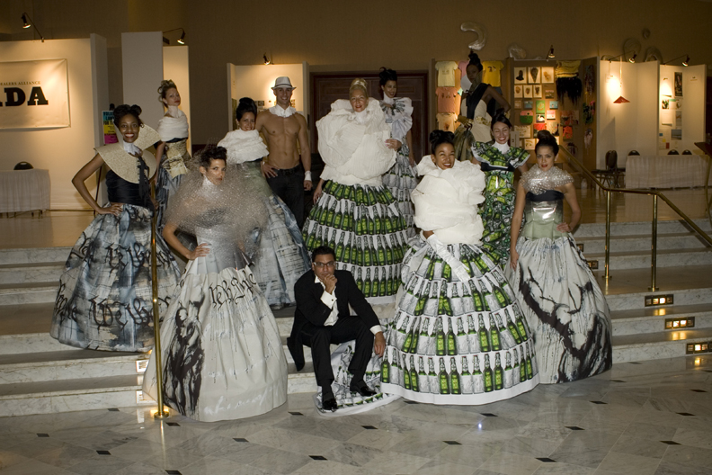 EcoArtFAshion by Luis Valenzuela made of recycled materials during Art BAsel South Beach