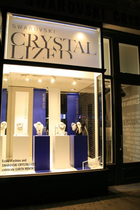 EcoArtFAshion by Luis VAlenzuela at Swarovski Crystalized SoHo store NYC